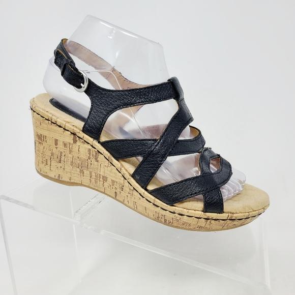 Born Boc Black Leather Cork Wedge Platform Sandals
